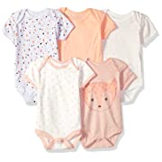Rene Rofe Baby Baby Collection Unisex 5-Pack Bodysuits, Light Pink cat face/Off White Hearts, 3-6 Months