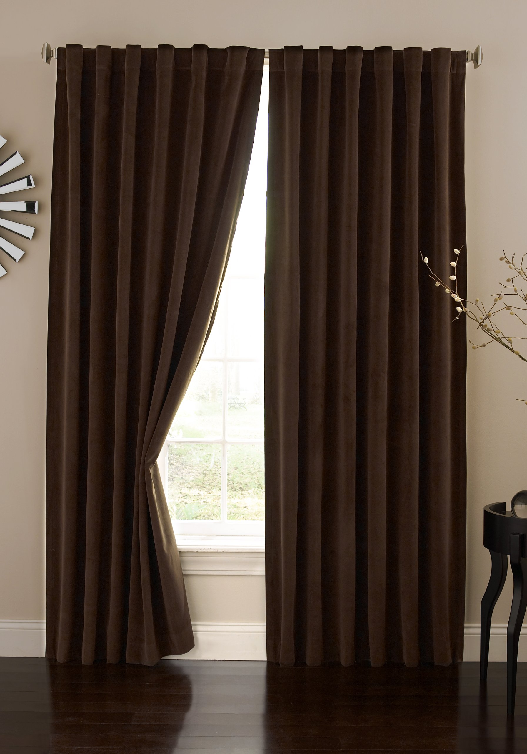 Absolute Zero 11718050X084CH Velvet Blackout Home Theater 50-Inch by 84-Inch Single Curtain Panel, Chocolate