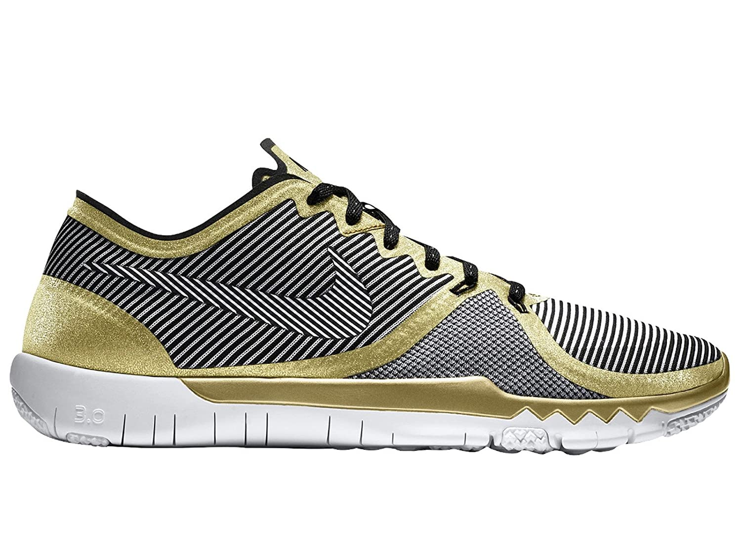 sports shoes afccd d310e Amazon.com   Nike Mens Free Trainer 3.0 V4 Gold White Black Synthetic  Cross-Trainers Shoes 11.5 M US   Shoes