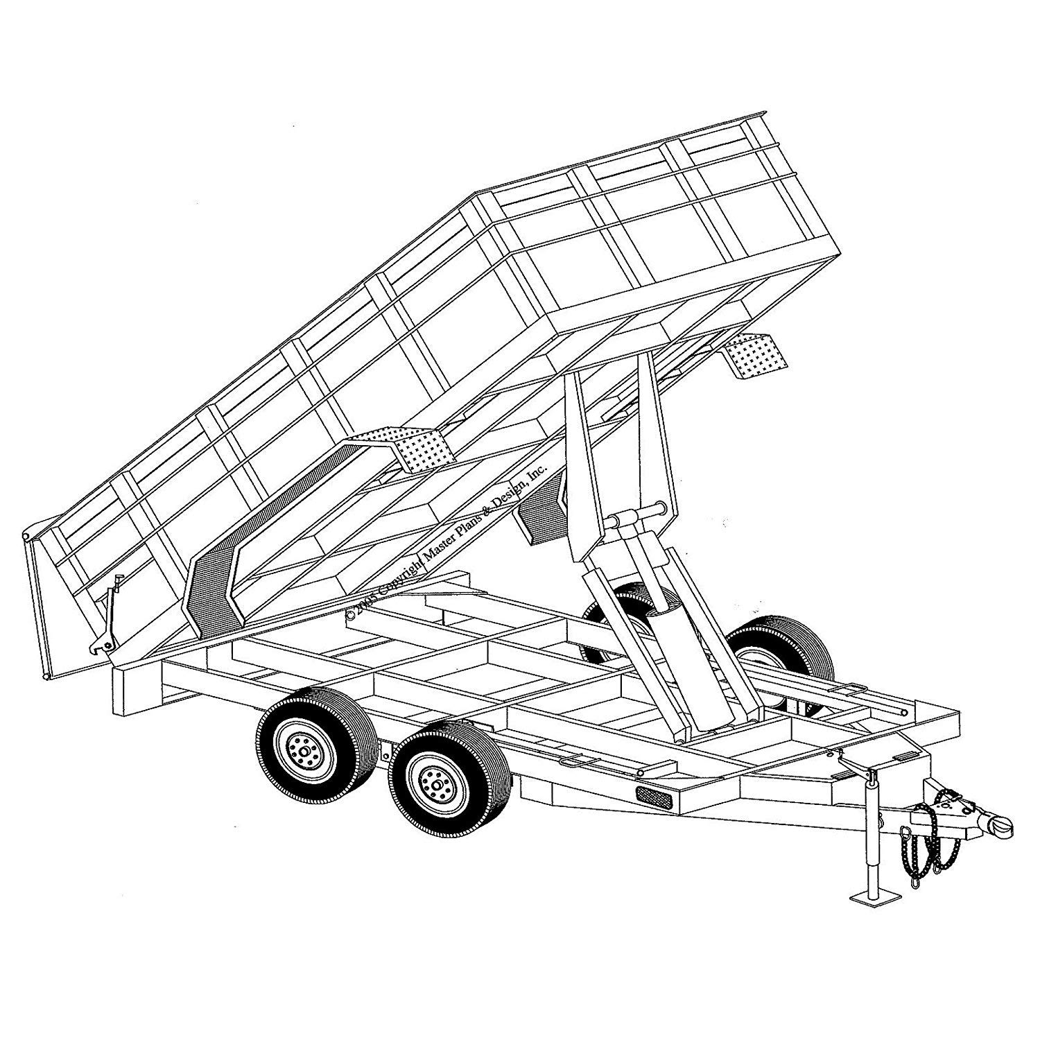 Hydraulic Dump Trailer Blueprints (12' x 6'4'' - Model 12HD) by Master Plans and Design