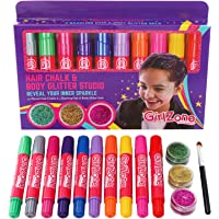 GirlZone: Hair Chalk & Glitter Gels, Set of 10 Hair Chalks & 3 Hair, Face & Body Glitter Gels. Great Birthday Present Gift & Makeup For Girls Age 3 4 5 6 7 8 9 10 + Years Old.