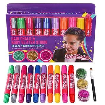 GIFTS FOR GIRLS Hair Chalk Body Glitter Gels Makeup Set For Girls
