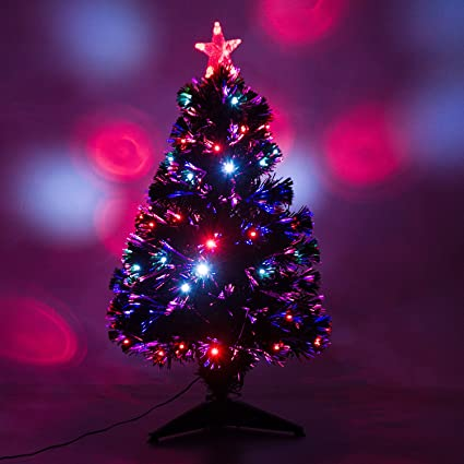 3 artificial holiday fiber optic led light up christmas tree w 8 light