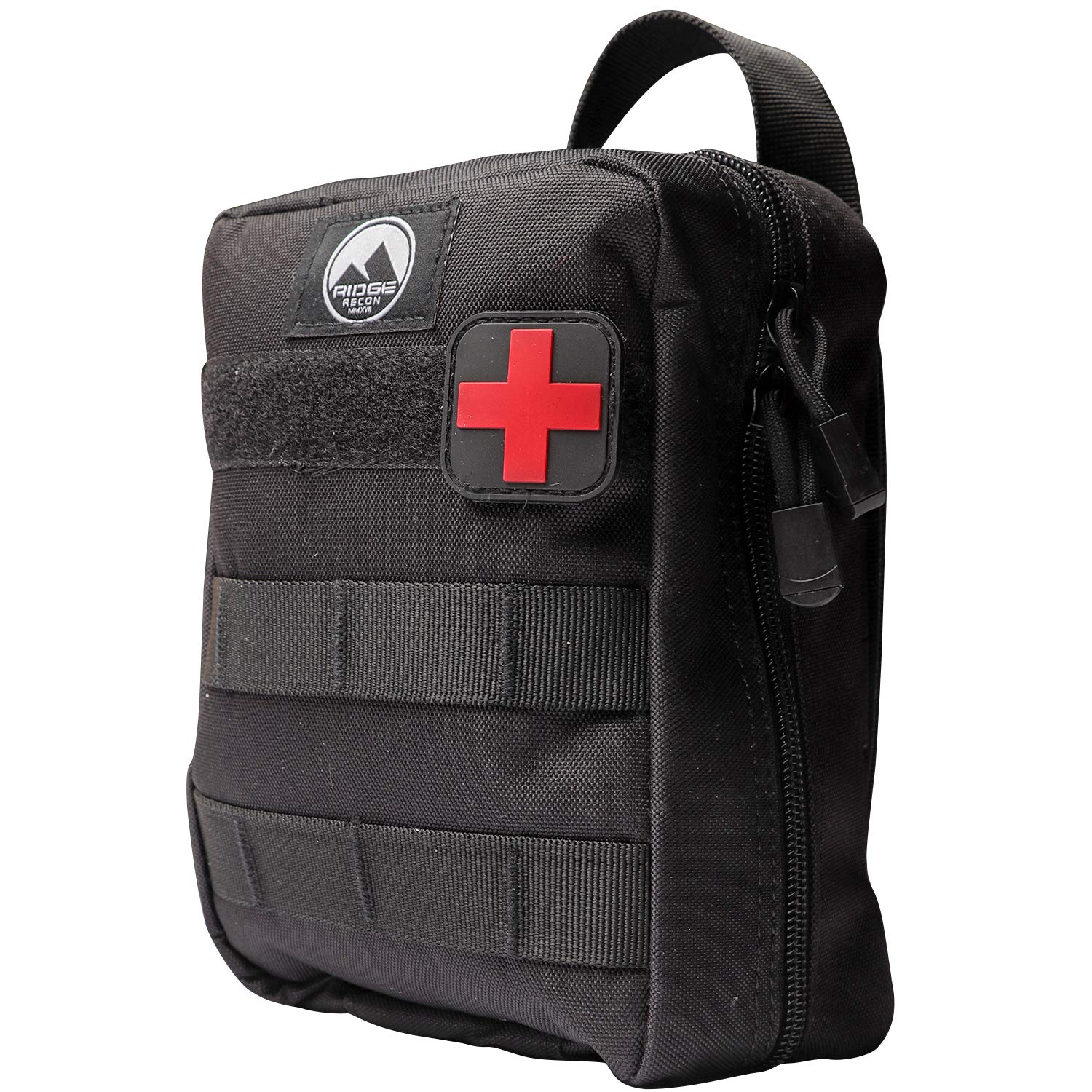 Ridge Recon First Aid Kit Fully Stocked for Emergency First Responder IFAK | Care for Self and Others in Emergencies | Includes Israeli Bandage, CAT Tourniquet and Tactical Bag with MOLLE Attachments by Ridge Recon