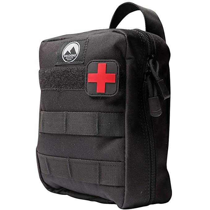 Ridge Recon First Aid Kit Fully Stocked for Emergency First Responder IFAK  | Care for Self and Others in Emergencies | Includes Israeli Bandage, CAT