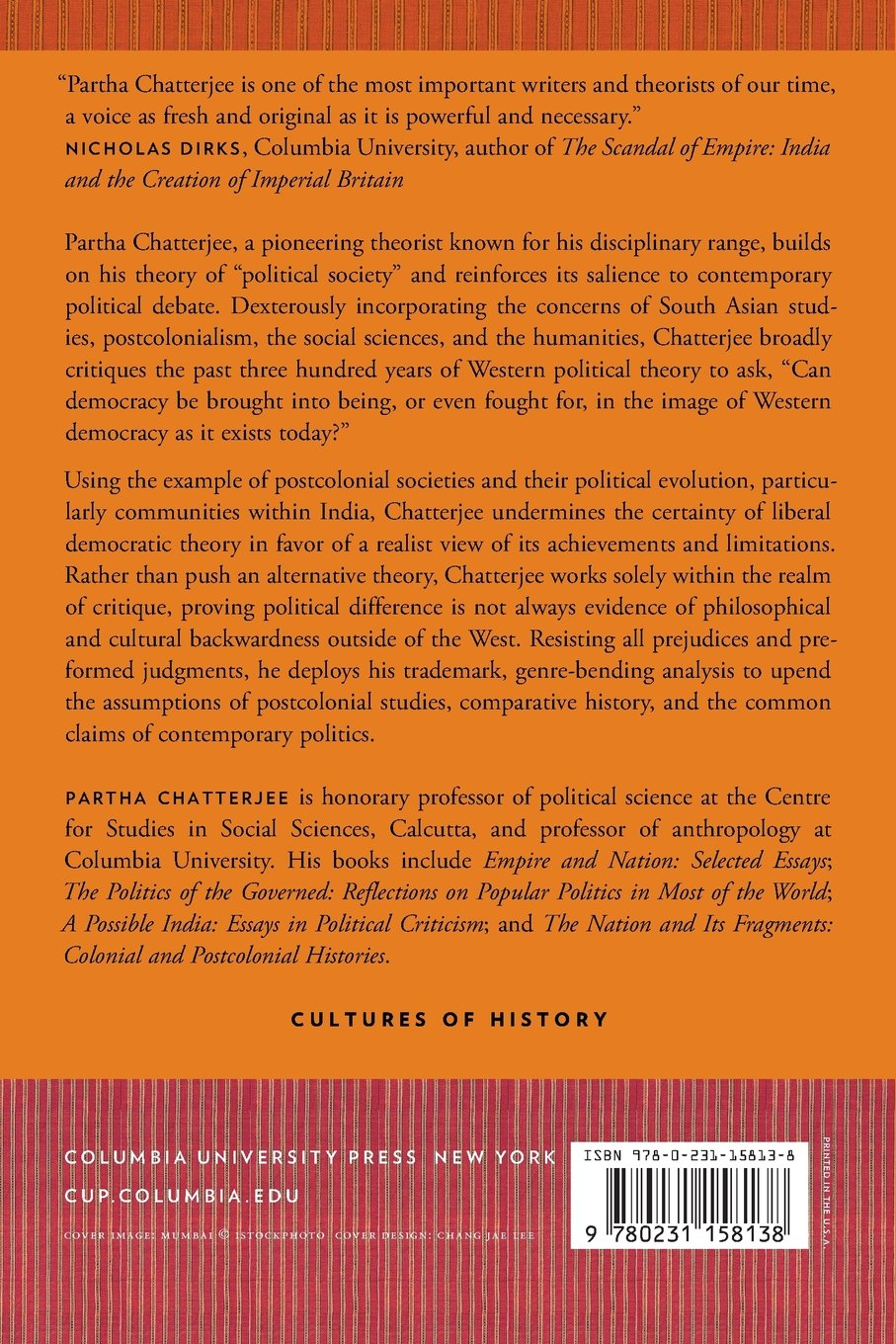 Lineages of Political Society: Studies in Postcolonial Democracy (Cultures  of History): Partha Chatterjee: 9780231158138: Amazon.com: Books