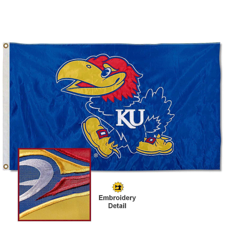 Kansas Jayhawks Embroidered and Stitched Nylon Flag