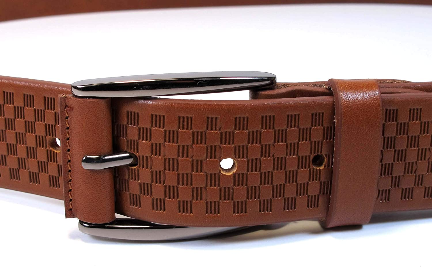 42 Mens Real Genuine Leather Belt Black Brown White 1.25 Wide S-XL Casual Jeans CU4 , Tan Brown Waist 40, Total 49