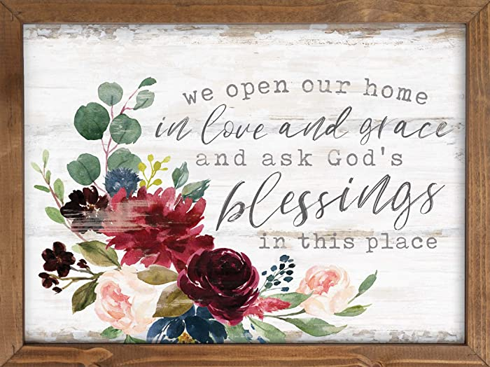 P. Graham Dunn Open Home in Love Grace God's Blessings Floral 16 x 12 Inch Pine Wood Framed Wall Art Plaque