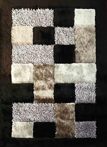 Modern Soft Shag Shaggy Rug Contemporary Hand Tufted Carved Cotton Backing 30 8×11 Feet appx, BLACK