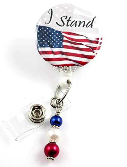 58e167f501db Image Unavailable. Image not available for. Color  I Stand Flag - Nurse Badge  Reel - Retractable ID ...