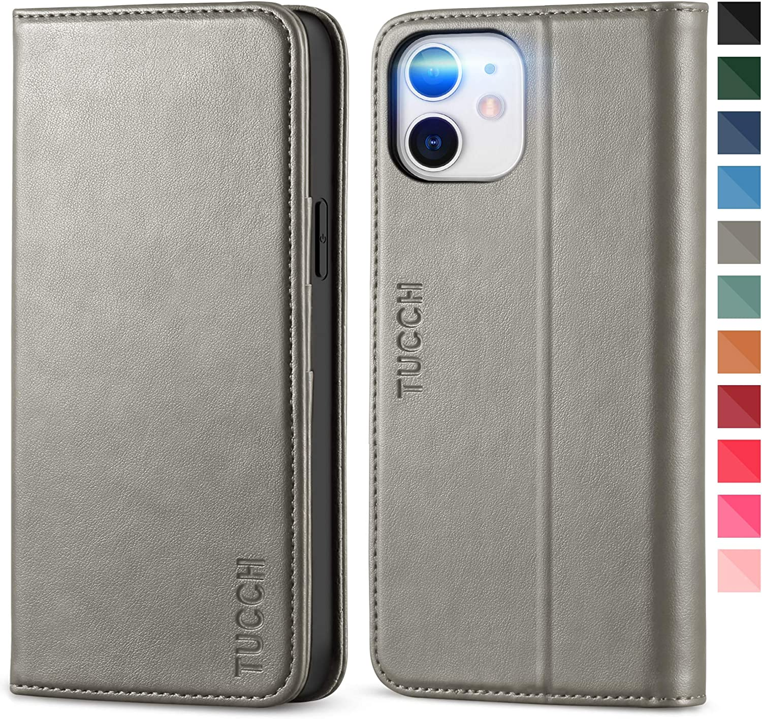 TUCCH Case for iPhone 12/iPhone 12 Pro 5G, PU Leather Flip Wallet, Stand Folio Cover with 3 Credit Card Slot [Soft TPU Protective Interior Case] Compatible with iPhone 12/iPhone 12 Pro 6.1-inch, Grey