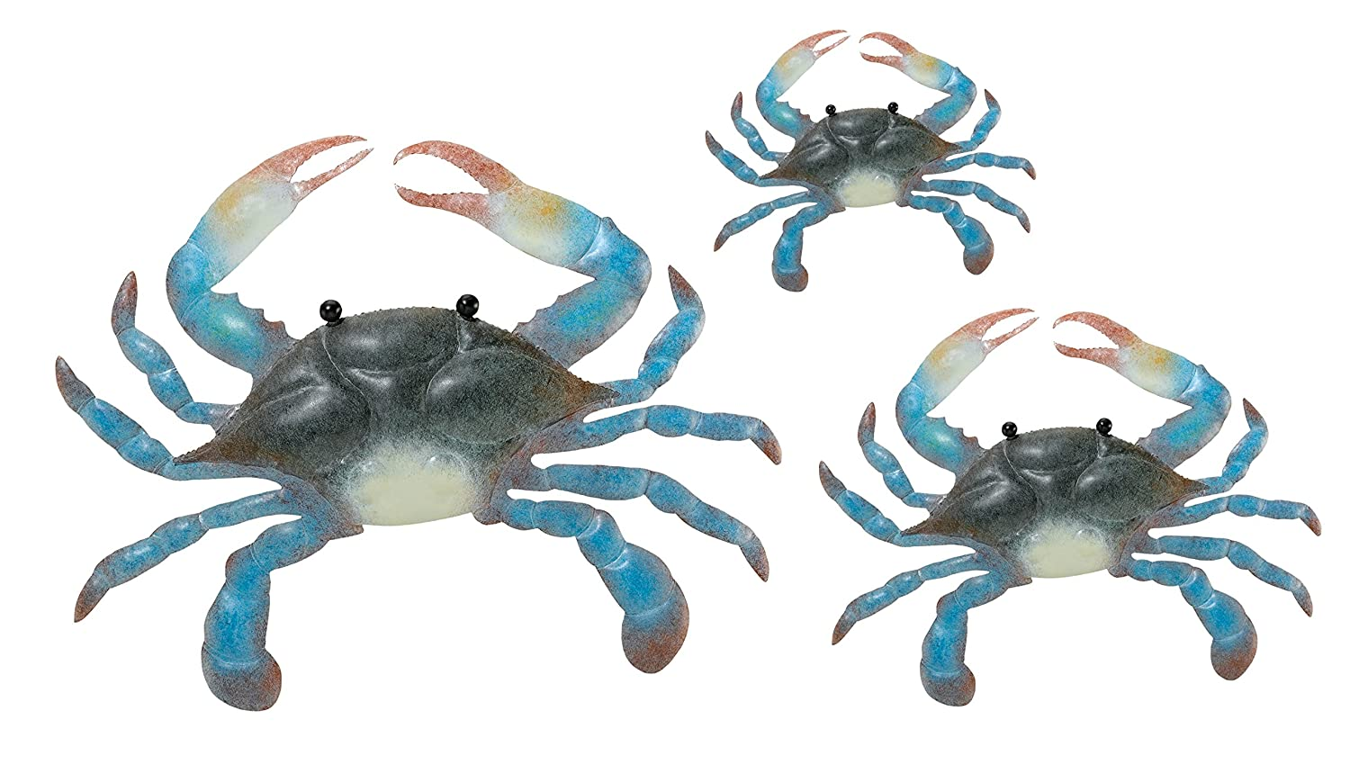 Home Art And Gift Blue Crab Wall Decor, Set Of 3