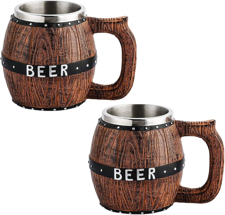 Lijia Taza Cerveza,Copas de Cerveza,Copa de cóctel con asa Revestimiento de Acero Inoxidable Vaso de Barril de Cerveza de Gran Capacidad con Fondo Antideslizante Utilizado para reuniones Familiares