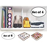 Moch Store Closet Shelf Dividers/Set of 4 Separators and 2 Space Saver Drawer Organizers/Easy Clip Metal Storage Partitions for Wooden Closet and Cabinet Shelves