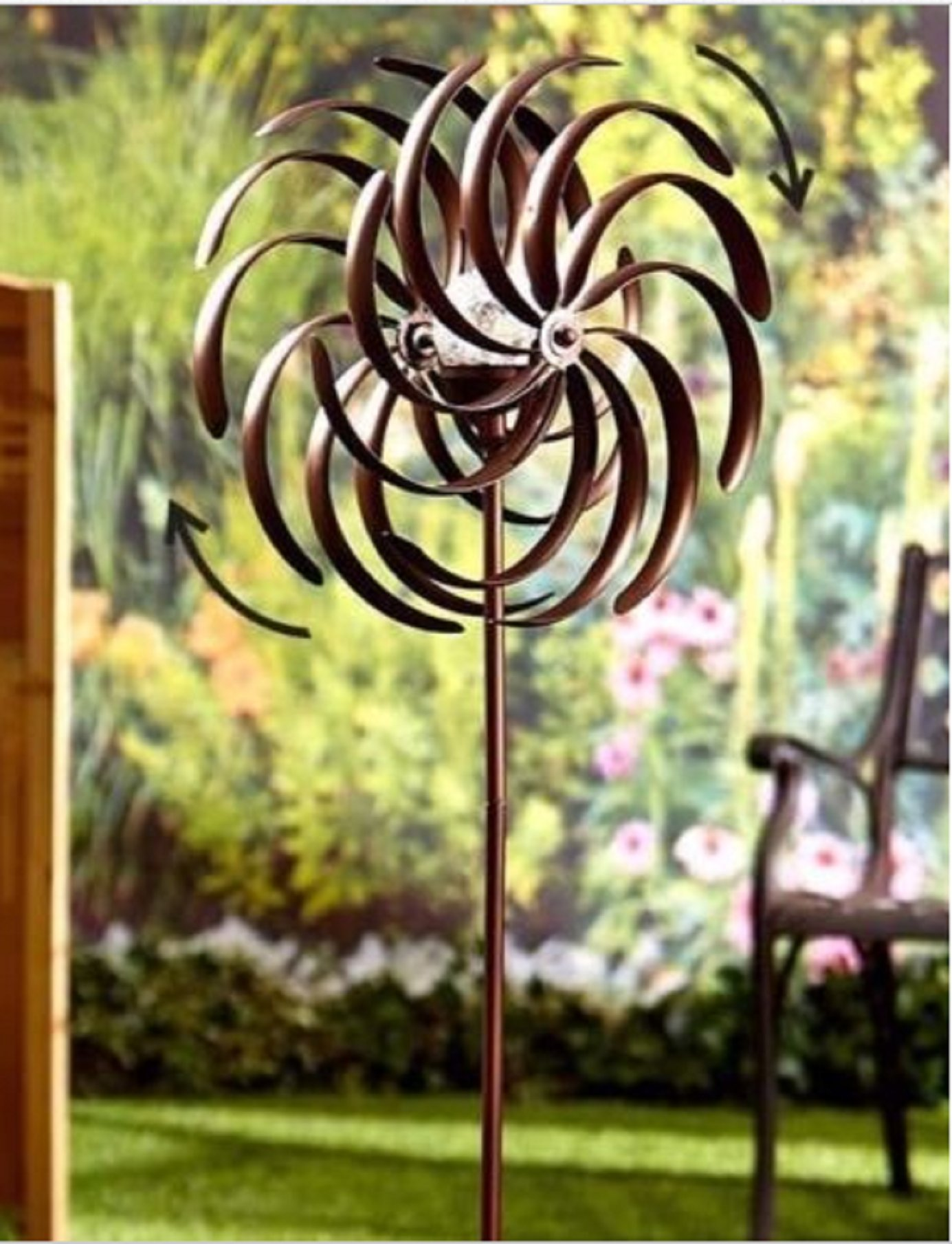 USA Premium Store Weather Resistant Double Spiral Solar Lighted Garden Wind Spinner Yard Art Decor by USA Premium Store (Image #1)