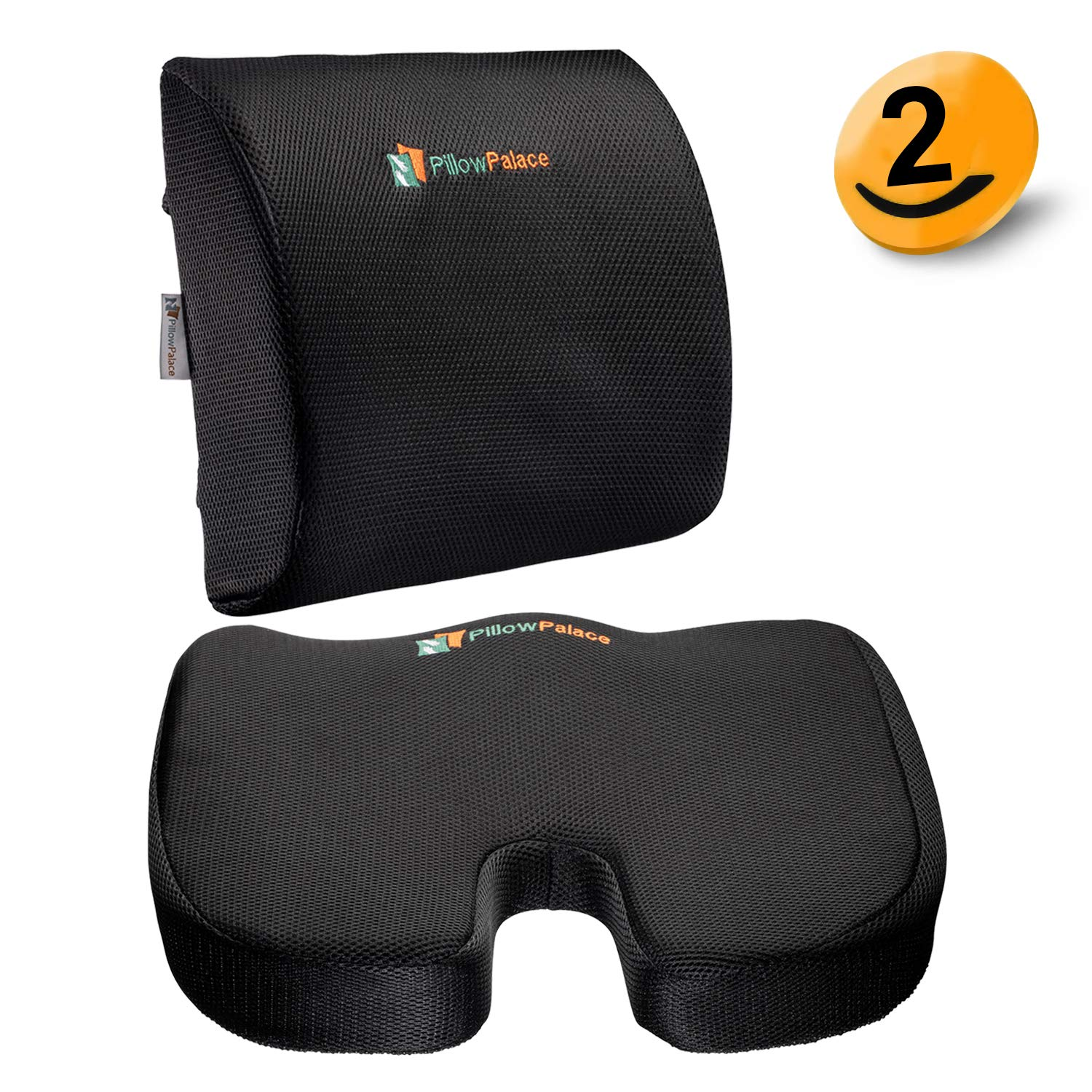pillow palace | Coccyx Memory Foam Seat Cushion Set | Lumbar Support Pillow and Backrest | Non-Slip Bottom | Breathable Mesh Cover | Adjustable Non-Sliding Straps | Black