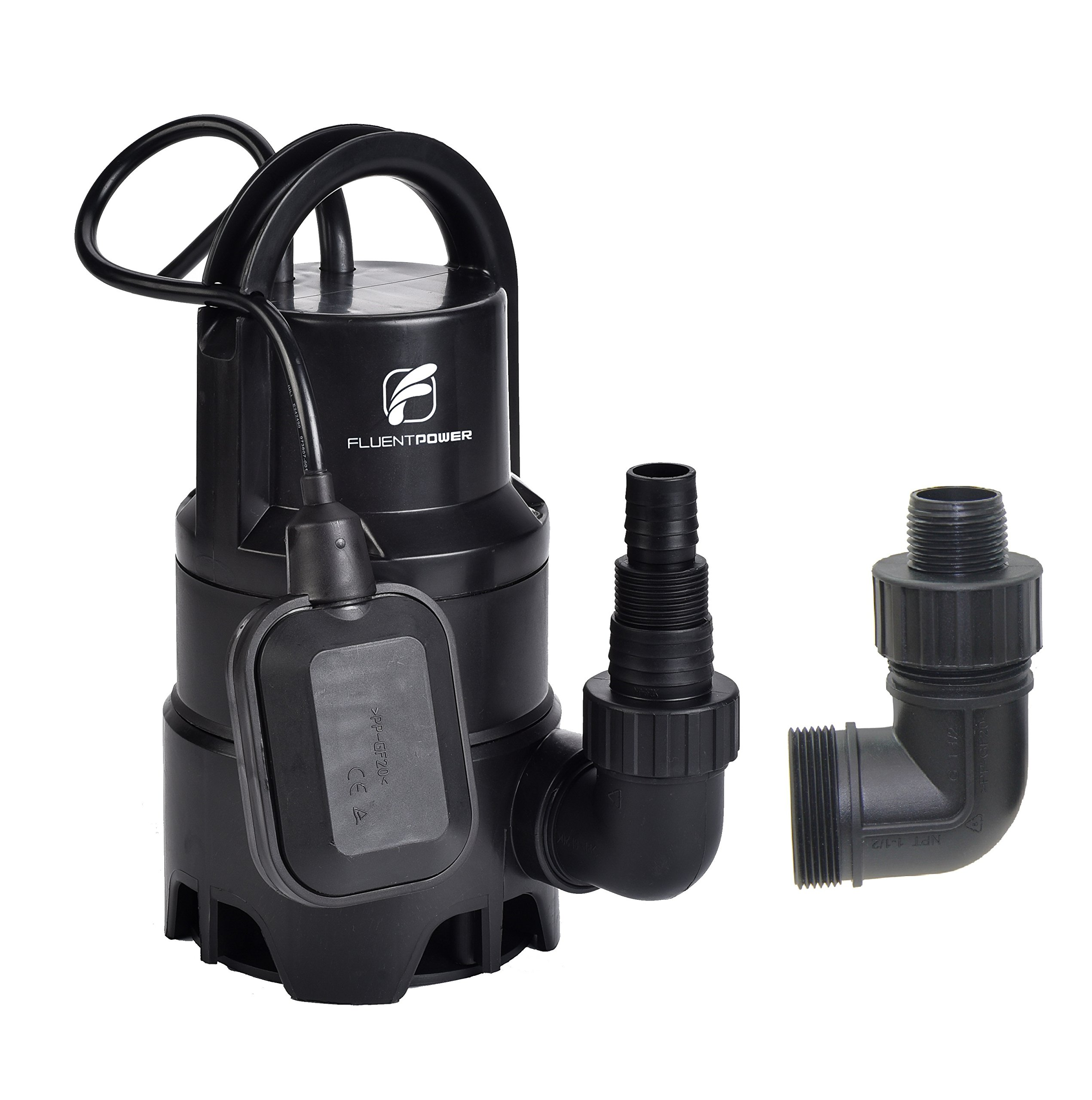FLUENT POWER Submersible Pump - 110V/60Hz 1/3HP 2100 GPH Clean / Dirty Submersible Water Pump includes float switch for automatic operation with adaptable hose connections
