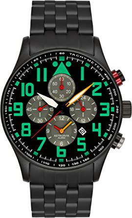 Astroavia Herren Armbanduhr Chronograph Quarz mit Edelstahl Armband V8S