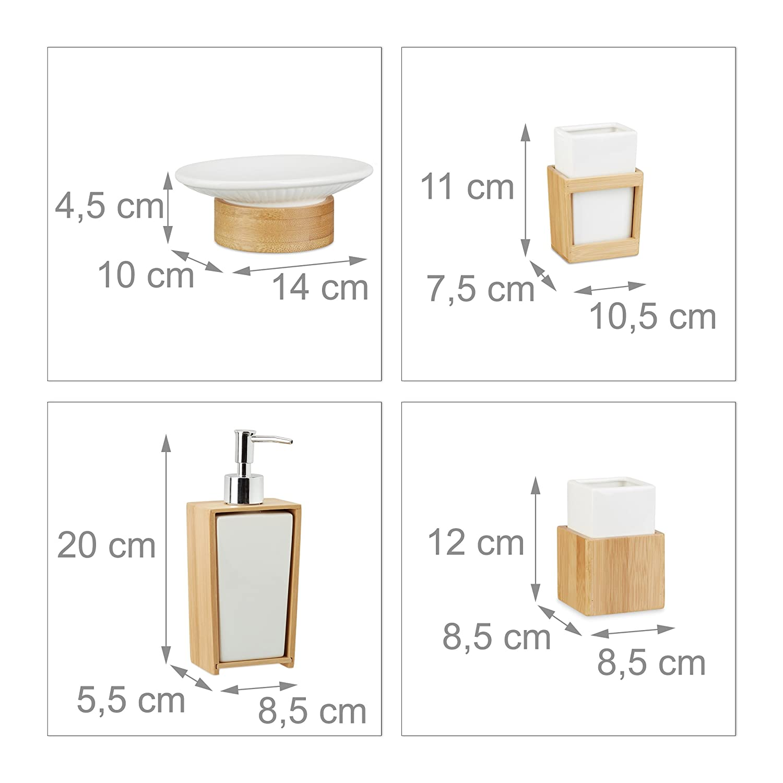 Bamb/ù Relaxdays 10022205 Set Accessori Bagno 4 Pezzi Porta-Spazzolino Dispenser Ceramica Marrone e Bianco Porta-Sapone