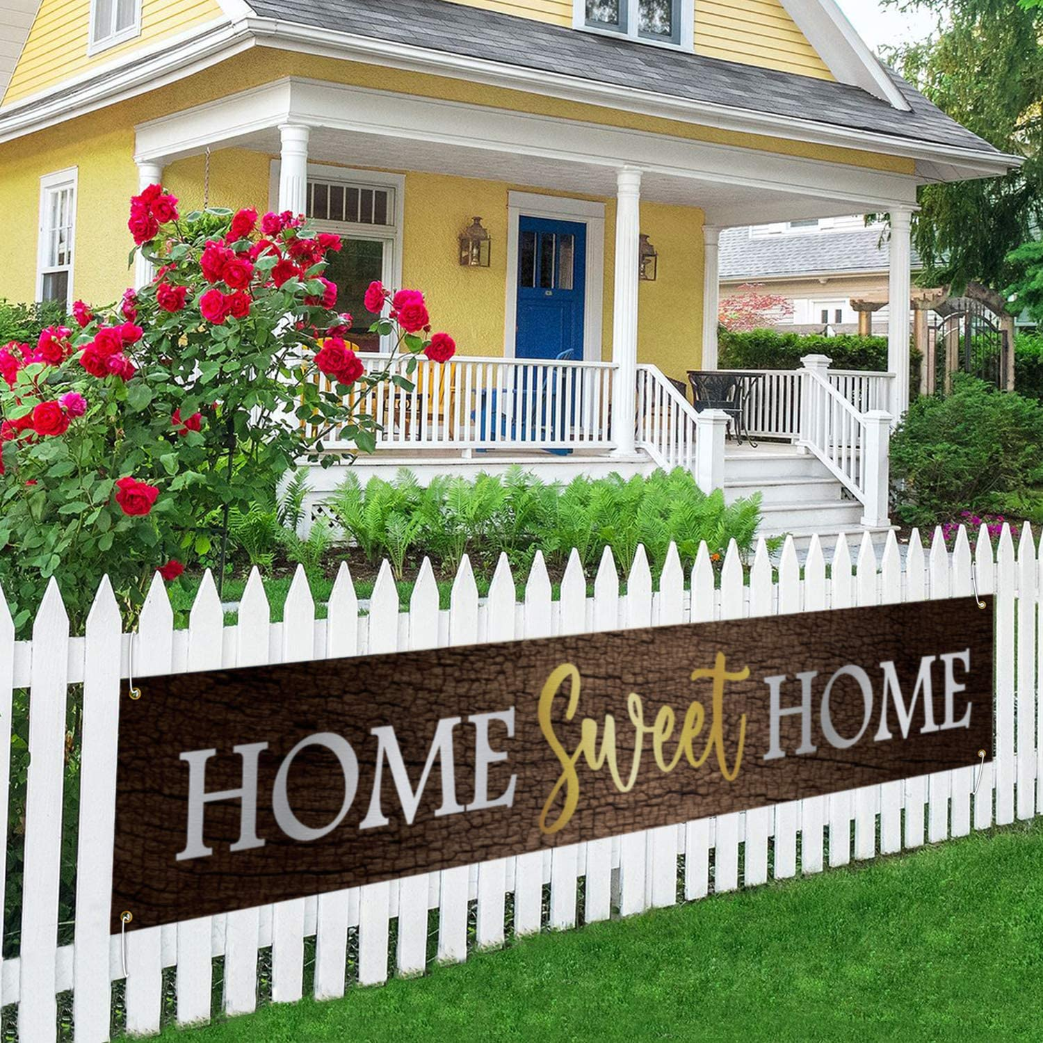 Home Sweet Home Large Banner, New Home Lawn Decor, Welcome Home Porch Sign, Housewarming Gift, Indoor Outdoor Backdrop 8.9 x 1.6 Feet