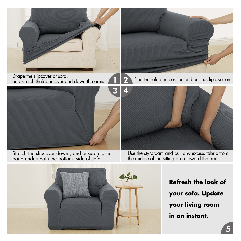 Amazon.com: Deconovo - Funda para sofá sin tirantes, moderna ...