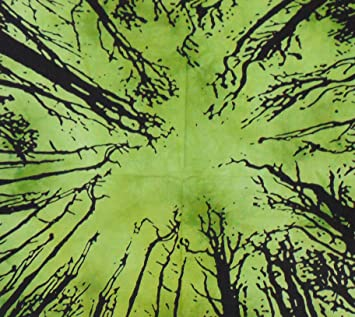326437623e68 Buy Tapestry Bazar Dark Forest Tree Boho Bohemian Psychedelic Hippie  Printed Tie Dye Small Wall Decor   Hanging (Green