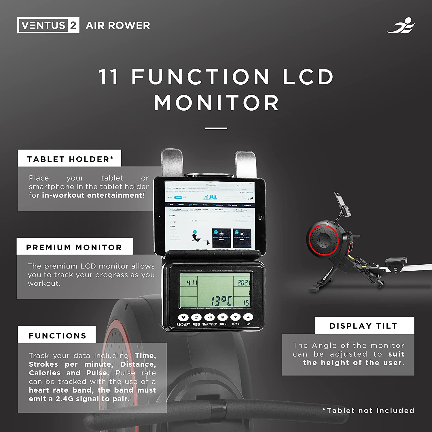 JLL Ventus 2 Air Rower - 11 function LCD Monitor