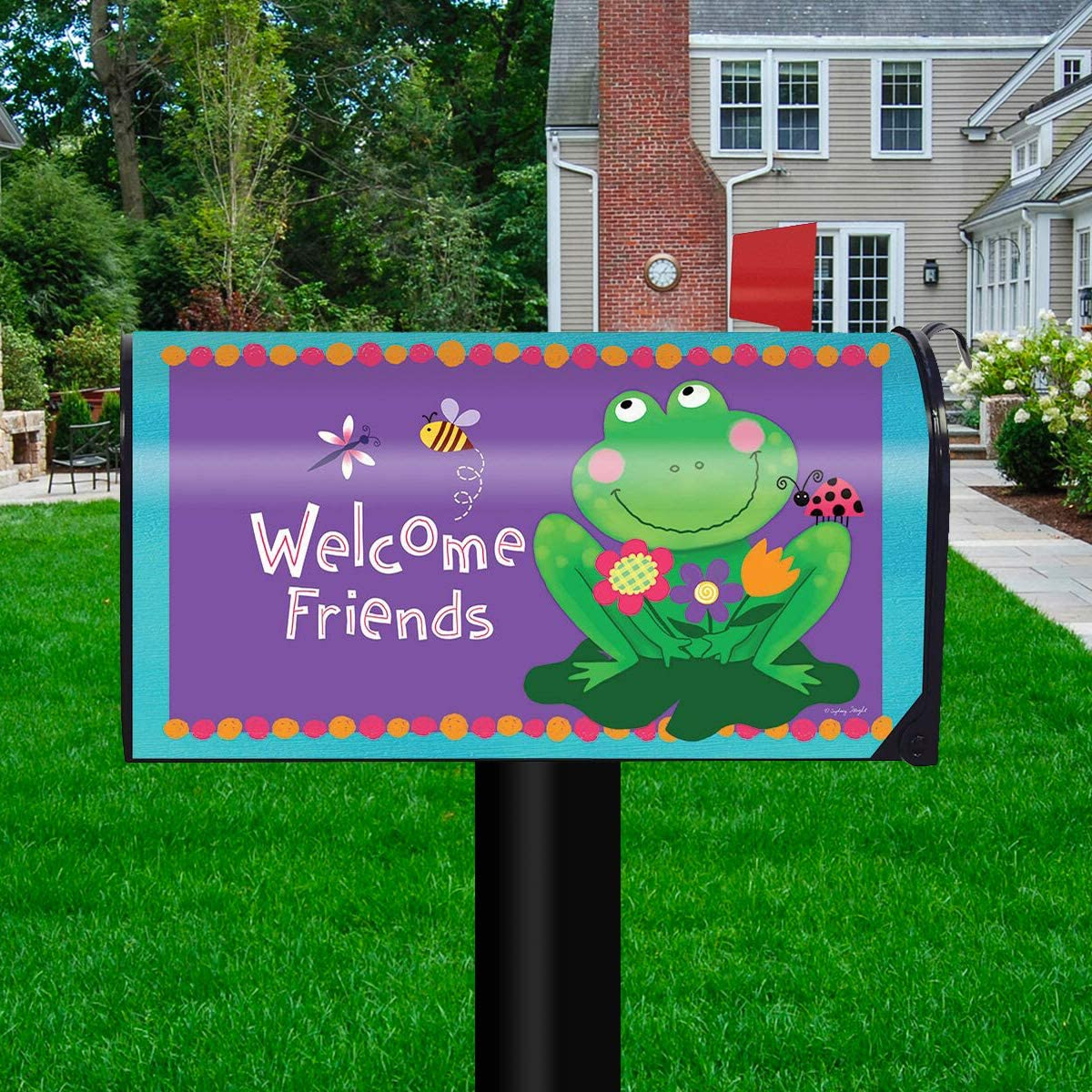 Briarwood Lane Happy Frog Summer Magnetic Mailbox Cover Floral Standard