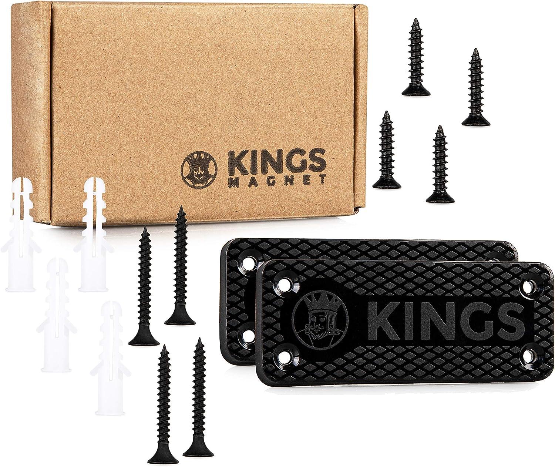 KINGS MAGNET Magnetic Gun Mount: 43 lb Rated Gun Magnet Mount - Magnetic Holster for Handgun, Pistol, Rifle, Revolver, Shotgun - Concealed Gun Holder for Car, Truck, Desk, Wall, Safe, Bedside 2 Pack