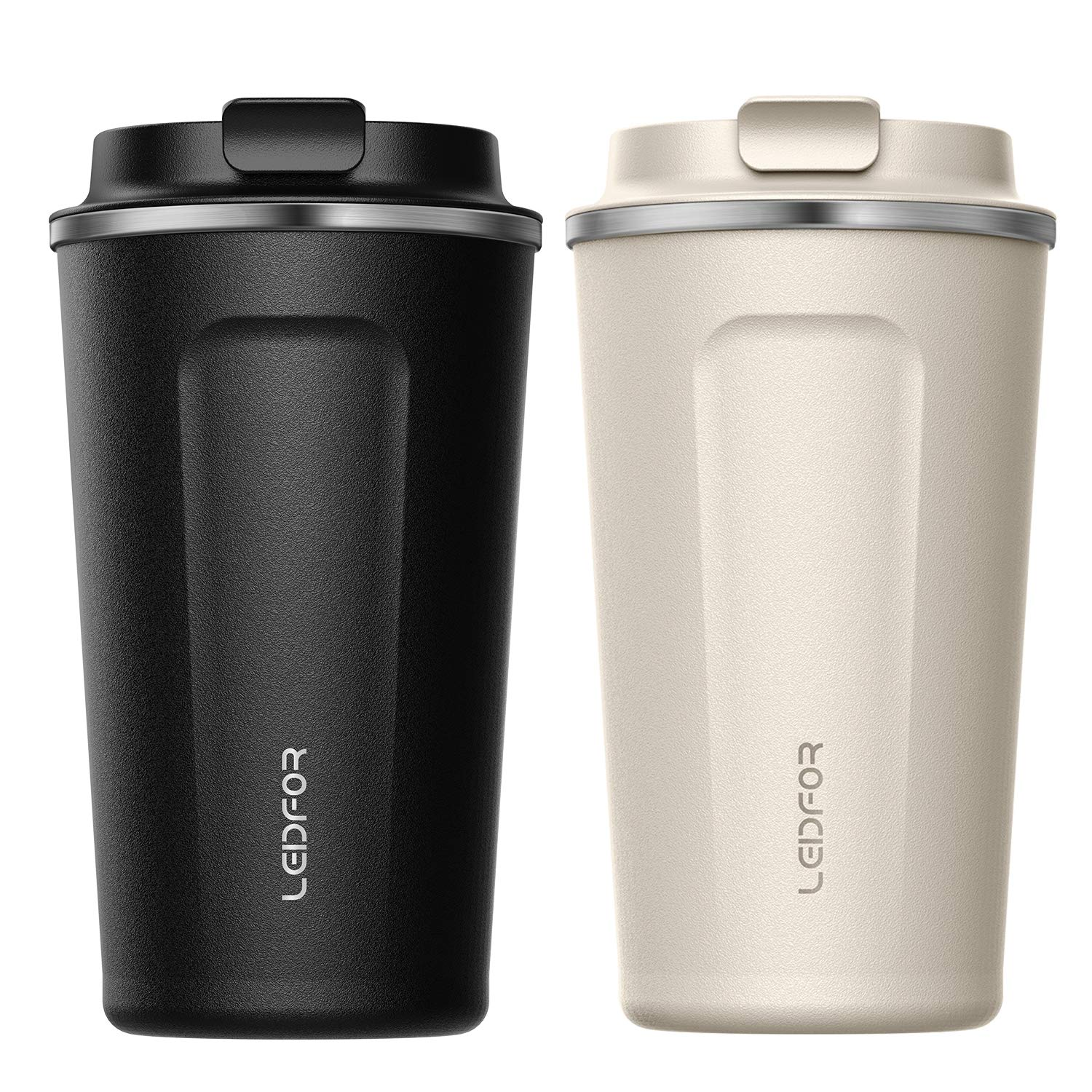 Leidfor Insulated Tumbler Coffee Travel Mug Vacuum Insulation Stainless Steel with Lid Leakproof BPA-Free 17oz Black Cream White TWO PACK by LEIDFOR