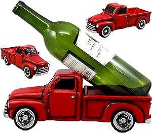 "Ebros Gift Red Vintage Old Fashioned Pickup Truck Wine Holder 11.25"" Long Figurine Wine Bottle Holder Caddy"