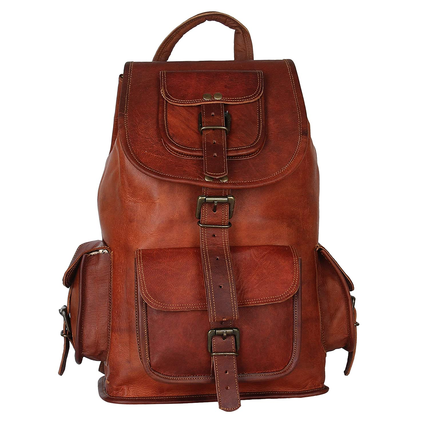 16 Inch,Brown leather backpack CPLEATHER Exclusively Designed Leather Backpack for Men and Women