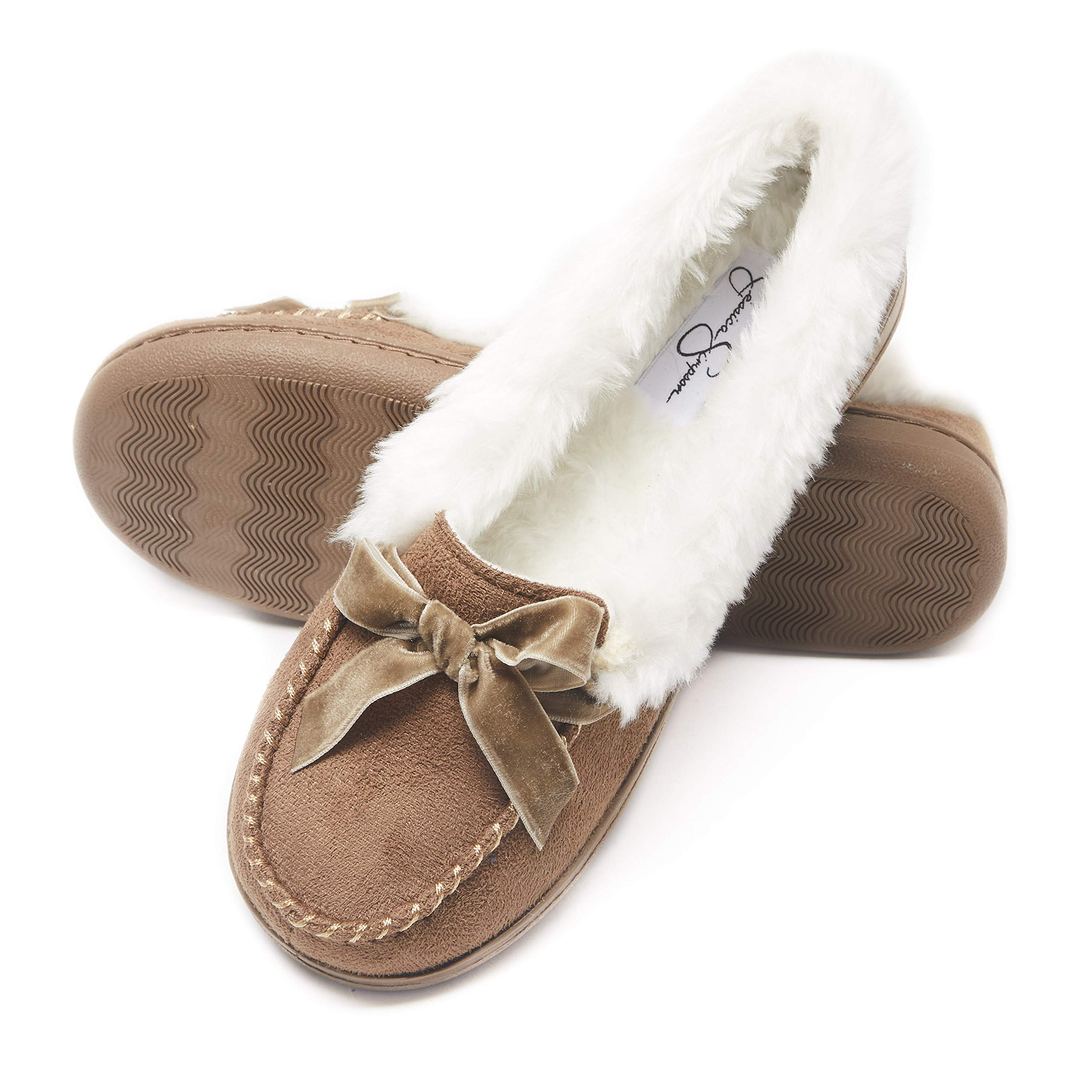 Jessica Simpson Womens Micro Suede Moccasin Indoor Outdoor Slipper Shoe (Size Large, Cinnamon) by Jessica Simpson