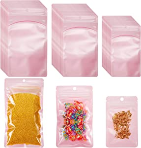 Chunm 100 Pieces 3 Sizes Resealable Mylar Bags Ziplock Food Storage Bag Smell Proof Packaging Pouch Bags with Clear Windows for Lip Gloss, Eyelash, Tea, Food, Jewelry and Craft Storage (Macaron Pink)
