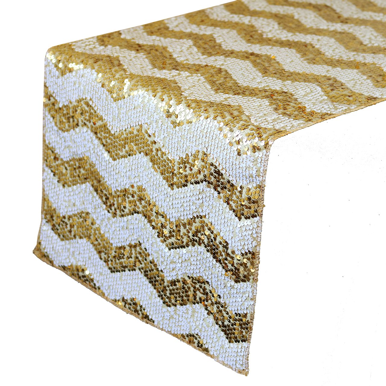 Your Chair Covers - 14 x 108 inch Chevron Sequin Table Runner White and Gold, Glitz Table Runner for Weddings, Events, Hotels and Catering Services