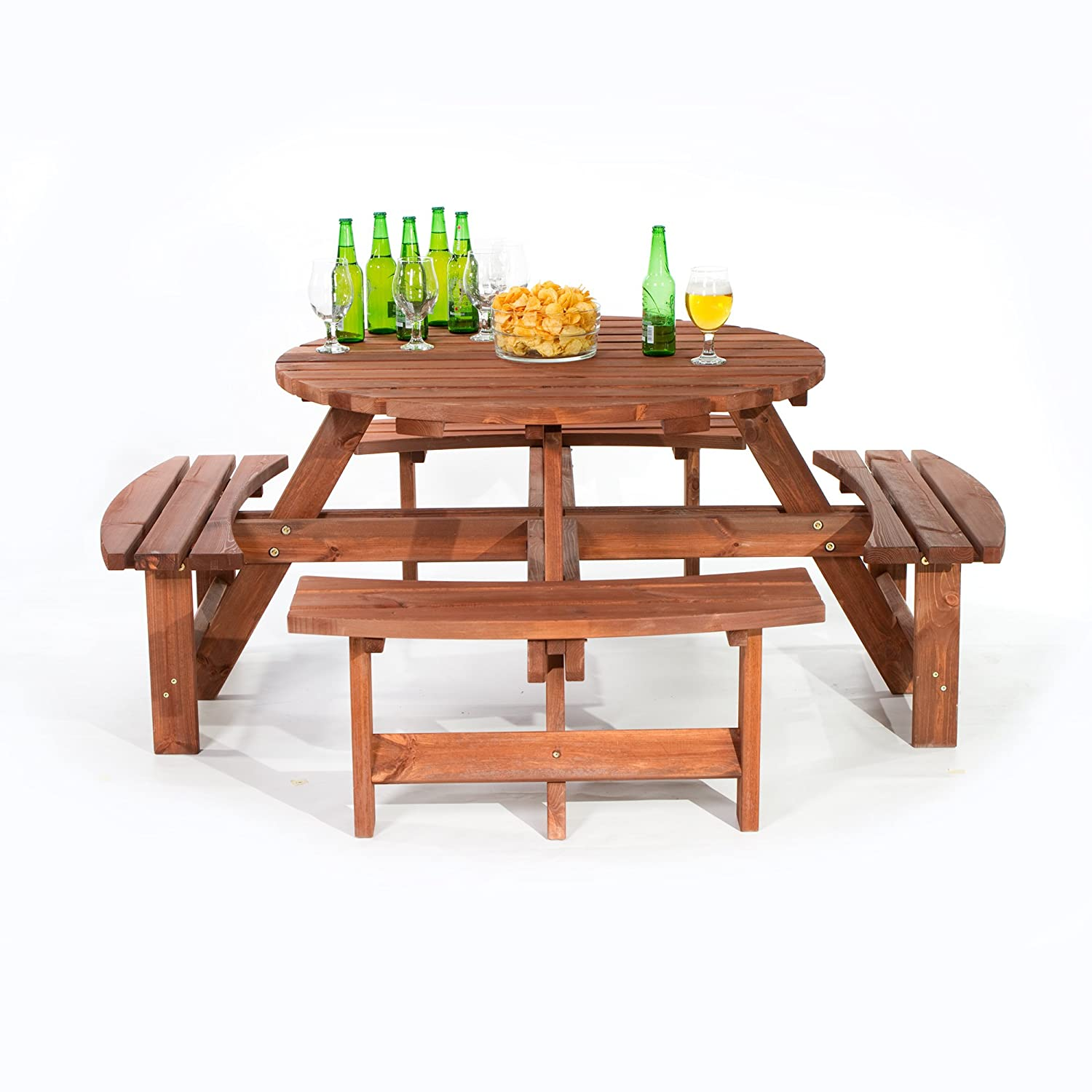 Surprising Brackenstyle Brown Picnic Pub Bench 8 Seater Round Wooden Garden Patio Table Thick Timbers Dip Treated Home Interior And Landscaping Ponolsignezvosmurscom