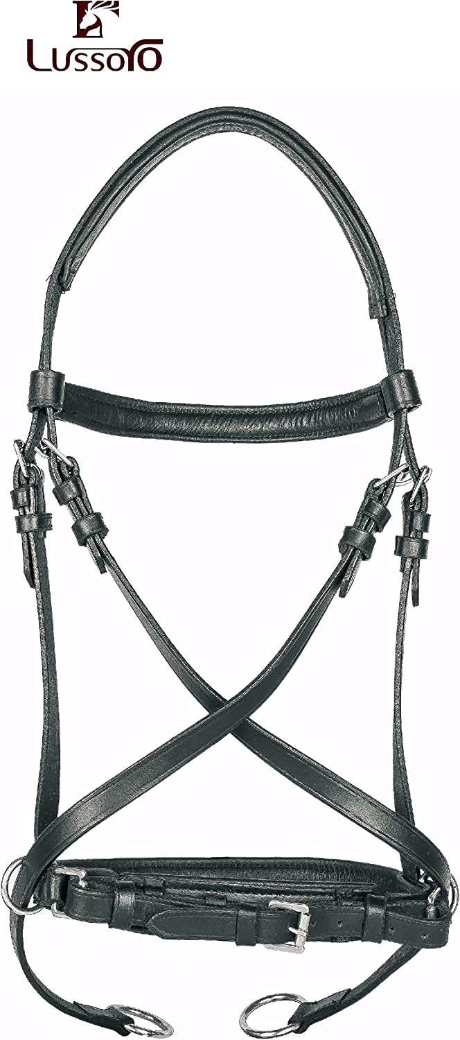 Lussoro Genuine Leather Cross Cross English Bitless Bridle I Headstall with Reins Size Cob