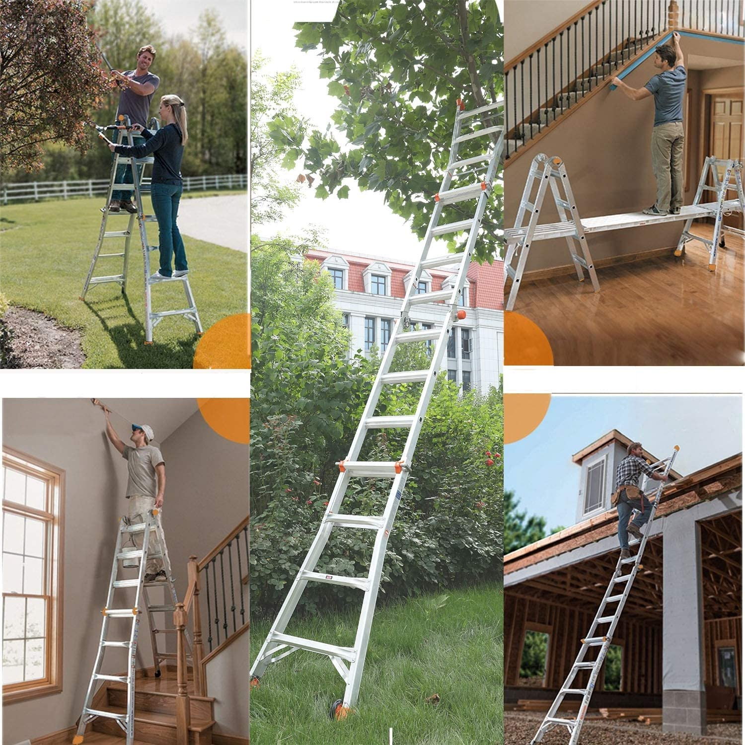 Embedded Buckle Aluminium Alloy Texture QOMOTOP Multi-Use Ladder,14.8-Foot Easy to Operate Two Wheels 300-Pound Duty Rating Non-Slip Design