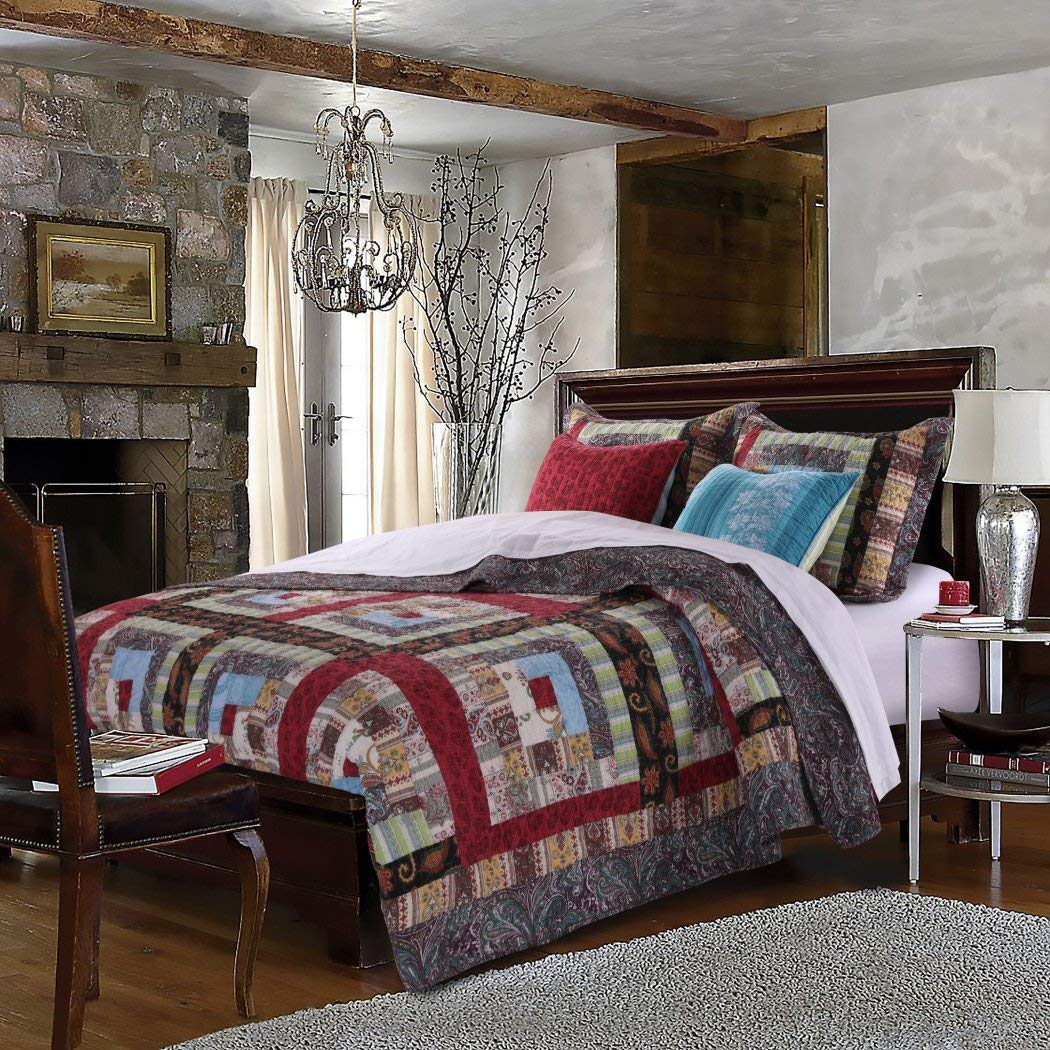 5 Piece Mulit Color Patchwork Full Queen Size Quilt Set, Red Blue Rustic Square Medallion Bedding, Floral Flowers Boho Chic Patch Work, Log Cabin Cottage, Cotton Reversible, Cotton, Polyester