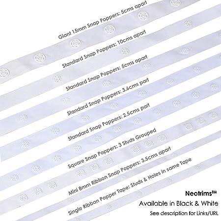 Stud Snap Fastening  Single spacing Press White or Black Popper tape