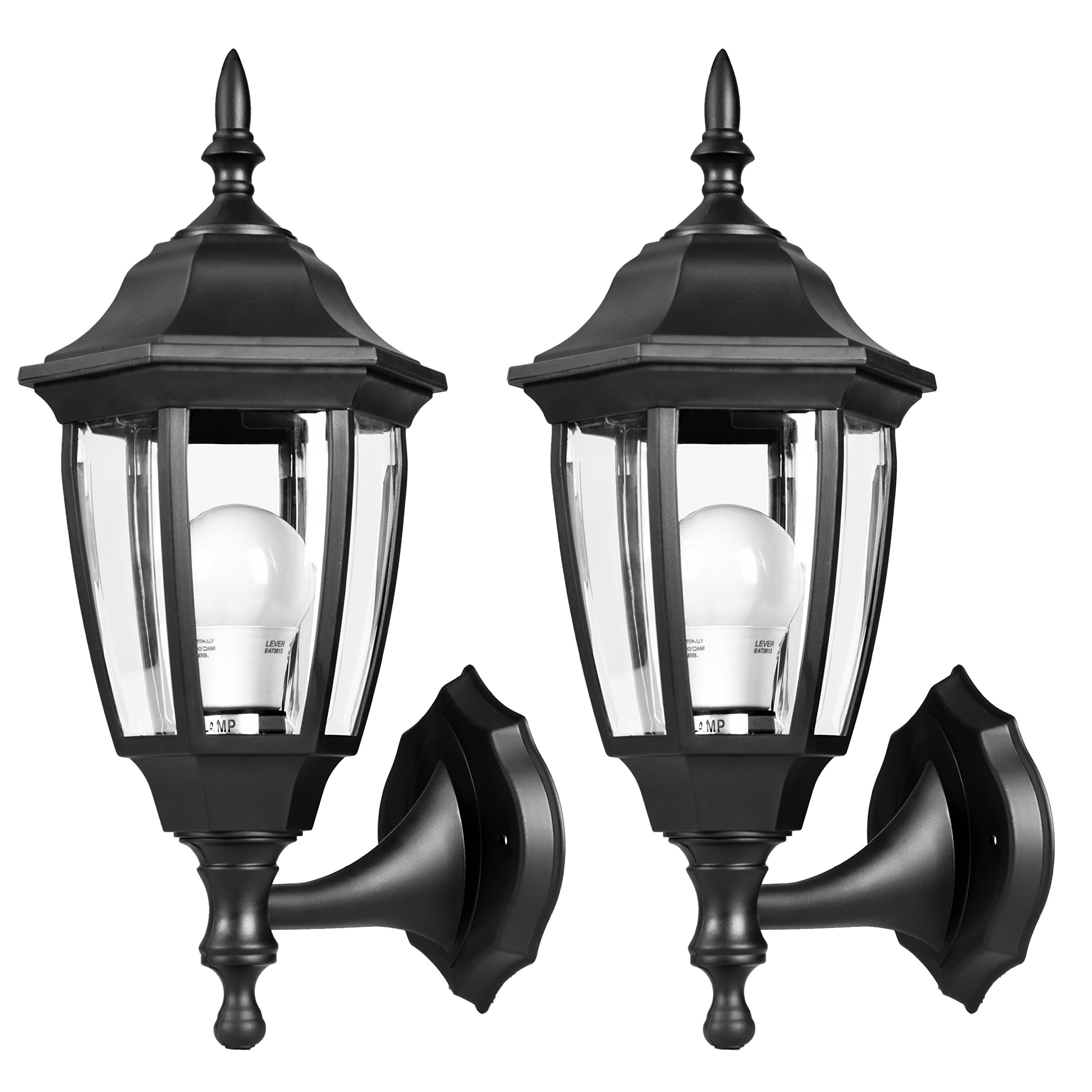 EMART Outdoor Porch Light LED Exterior Wall Light Fixtures, Special Handling Anti-Corrosion Plastic Material, Waterproof Security Lamp for Wall, Garage, Front Porch - 2 Pack by EMART