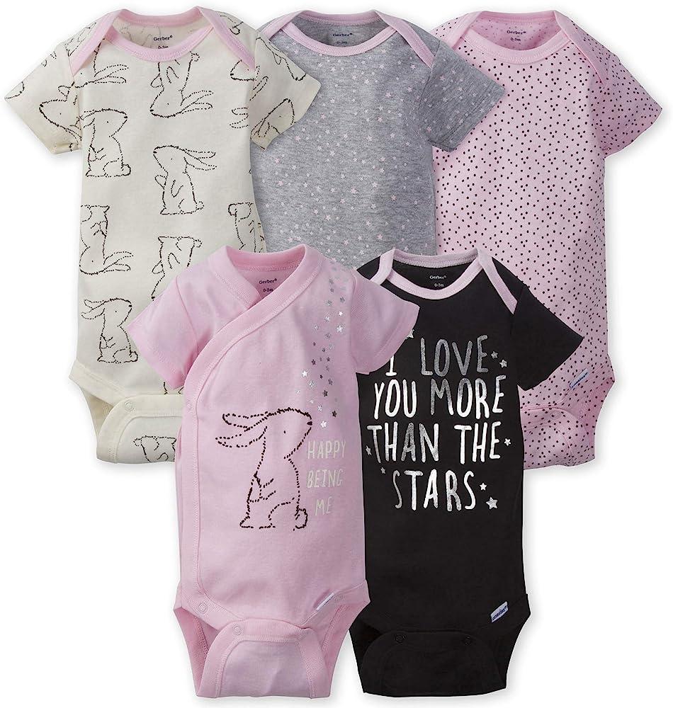 GERBER Baby Girls 5-Pack Variety Onesies Bodysuits