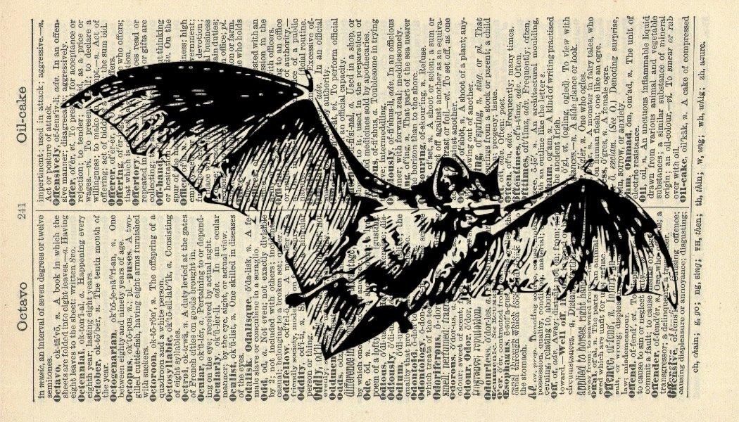 Bat Art Print - Vintage Dictionary Art Print - Vintage Art Print - Halloween Art Print - Wall Art Print - Gift - Gothic Artwork - Dictionary Page - Dictionary Art - Vintage Art - Illustration - Wall Hanging - Home Décor - Housewares - Book Print - Black &