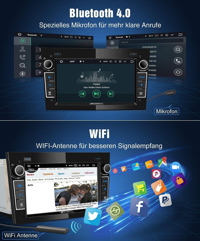 Pumpkin Android 8.0 Autoradio Radio f/ür Opel Astra Corsa Zafira mit Navi Unterst/ützt Bluetooth DAB USB Android Auto MicroSD 2 Din 7 Zoll Bildschrim Schwarz
