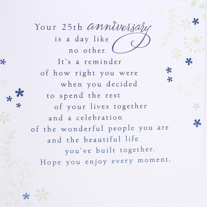 Amazon Hallmark 25th Anniversary Card Silver Wedding