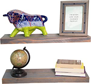 """Rose's Rustics Wood Floating Shelves Wall Mounted Set of 2 - Each Rustic Floating Shelf Handmade in USA - Bathroom, Bedroom, Kitchen Farmhouse Decor Display - Hardware Included (Rustic Gray, 24"""" x 7"""")"""