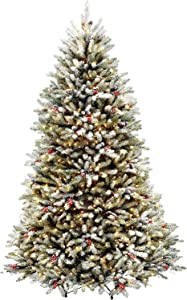 National Tree Company Pre-lit Artificial Christmas Tree   Includes Pre-strung White Lights and Stand   Snowy Green Dunhill Fir - 7.5 ft