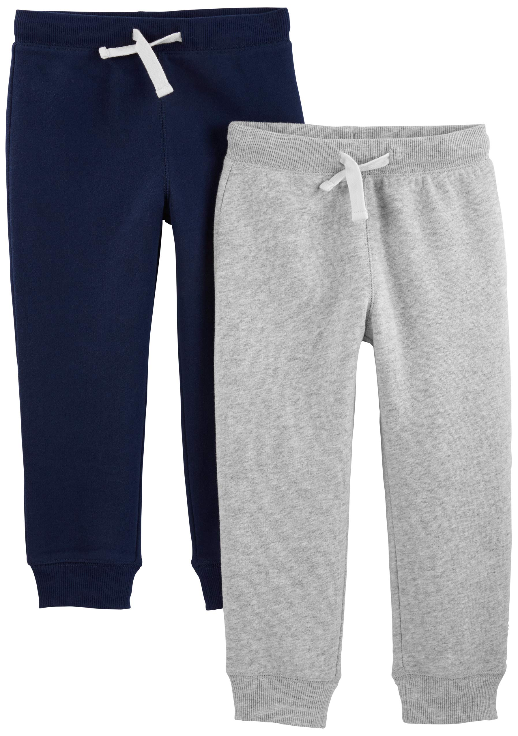 Simple Joys by Carter's Boys' Toddler 2-Pack Pull on Fleece Pants, Gray/Navy 3T