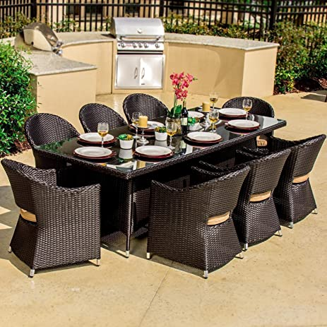 Lakeview Outdoor Designs Providence 8 Person Resin Wicker Patio Dining Set,  Espresso